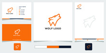 Wolf With Letter W Logo Template
