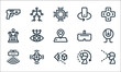 virtual reality line icons. linear set. quality vector line set such as virtual reality glasses, virtual reality, motion sensor, vr glasses, degrees, vr glasses, mobile rotation, motion.