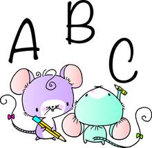 Vector Cartoon Mouse Write Abc