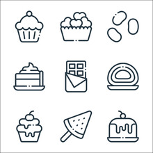 Desserts Candies Line Icons. Linear Set. Quality Vector Line Set Such As Cake, Watermelon, Cupcake, Roll Cake, Chocolate, Pie, Jelly Beans, Heart.