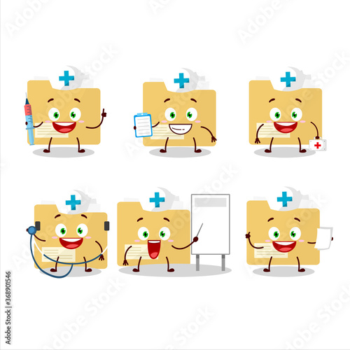 Photo Doctor profession emoticon with file folder cartoon character