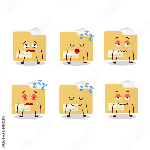Cartoon character of file folder with sleepy expression Wallpaper Mural