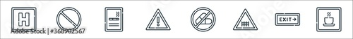 signals and prohibitions line icons. linear set. quality vector line set such as rest area, exit, railway, no drugs, warning, smoking area, forbidden.