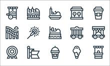 Amusement Park Line Icons. Lin...