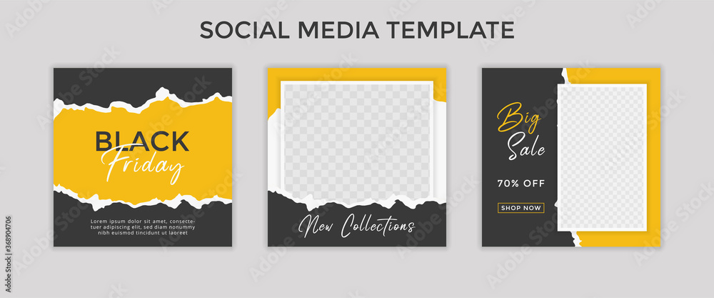 Fototapeta social media template post for promotion. template post for ads. design with yellow and black color.