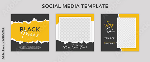 Obraz social media template post for promotion. template post for ads. design with yellow and black color. - fototapety do salonu
