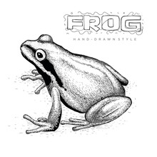 Realistic Frog Vector, Hand Dr...