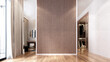 Leinwanddruck Bild - Modern cozy mock up interior design of elegant living room and wall pattern background and closet area