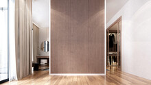 Modern Cozy Mock Up Interior Design Of Elegant Living Room And Wall Pattern Background And Closet Area