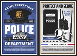 Police department serve and policing, law and justice vector design. Police officer uniform cap with badge, patrol car and handcuffs, baton, radio scanners and tactical anti riot shield posters