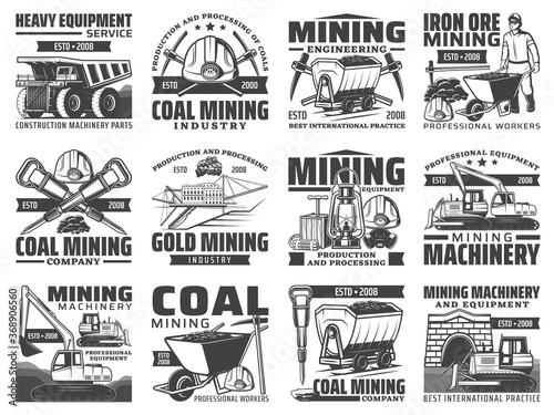 Mining industry equipment, machinery and miner tool isolated icons Fototapeta