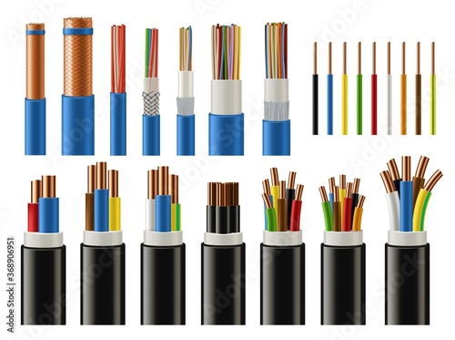 Valokuvatapetti Cables and wires realistic vector of electrical power, network, television and telephone