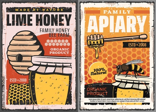 Honey and honeycombs with bee, vector beekeeping farm apiary Fototapete