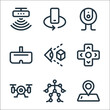 virtual reality line icons. linear set. quality vector line set such as gps, motion, drone, button, virtual reality, vr glasses, webcam, mobile rotation.