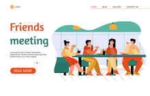 Friends Eating At Pizza Parlor - Website Banner With Cartoon Group Of People At Cafe Table Having Fast Food Meal Together. Vector Illustration Of Friend Meeting.