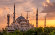 The Blue Mosque At Sunset In I...