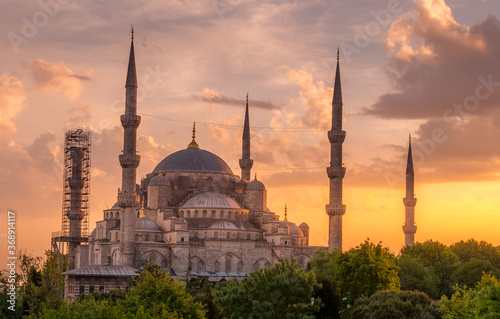 Fotografie, Tablou the blue mosque at sunset in istanbul