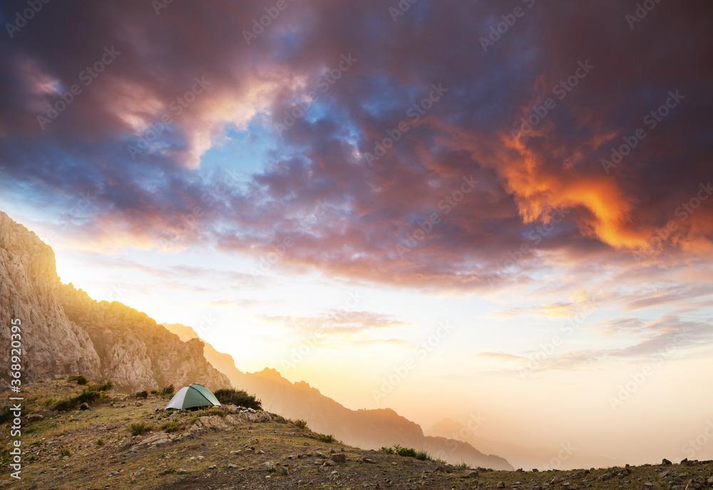 Fototapeta Tent in mountains
