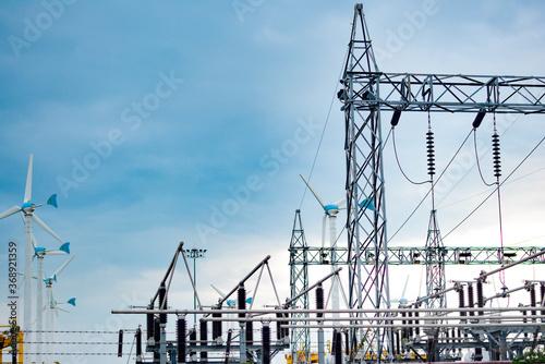 Obraz na plátně High voltage pole, High voltage power transformer substation