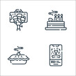 celebration line icons. linear set. quality vector line set such as party, apple pie, cake.