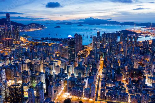 Obraz na plátně Top view of Hong Kong city at evening