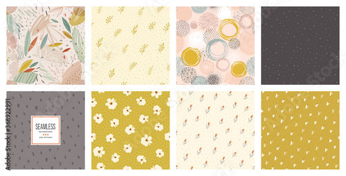 Obraz Trendy seamless patterns set. Cool abstract and floral design. For fashion fabrics, kid's clothes, home decor, quilting, T-shirts, backgrounds, cards and templates, scrapbooking etc. - fototapety do salonu