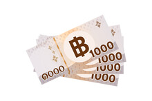 4,000 Baht Thai Banknote Money Isolated On White, Thai Currency Four Thousand THB Concept, Bank Note Money Thailand Baht For Flat Icon Style, Illustration Paper Money 1,000 Type With B Symbol Graphic