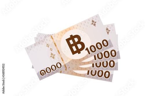 Fotografia, Obraz 4,000 baht thai banknote money isolated on white, thai currency four thousand TH