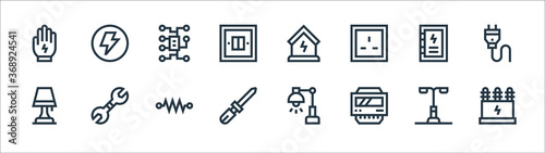 electrician tools and line icons Fototapet