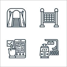 Railway Line Icons. Linear Set...