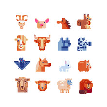 Pixel Art Set Of Farm Animals ...