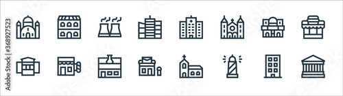 urban building line icons Wallpaper Mural