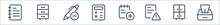Work Office Supply Line Icons....