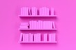 canvas print picture - Multiple book shelves with pink books on pink wall in room, women's literature, book collection or bookshop concept
