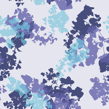 Blue Layered Floral Shadows Seamless Vector Pattern Background With Overlapping Foliage Sylhouettes For Fabric, Wallpaper, Stationery, Scrapbooking Projects Or Backgrounds.