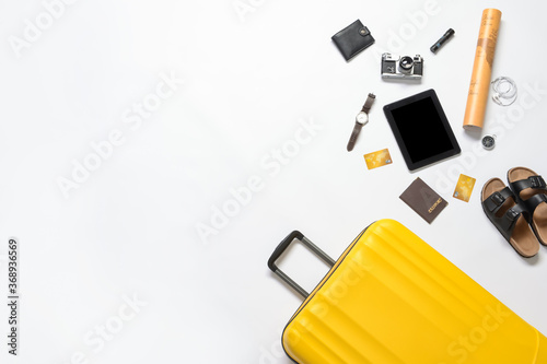 Obraz Set of travel accessories on white background - fototapety do salonu