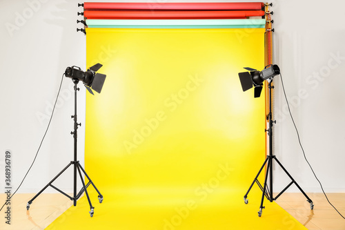 Canvas Print Color backdrops and modern equipment in photo studio