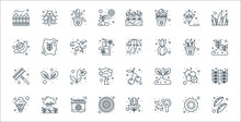 Spring Line Icons. Linear Set. Quality Vector Line Set Such As Peas, Soap, Sunflower, Ice Cream, Bee, Tulip, Growing, Good Weather, Wheat Flour.