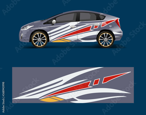 Fotografie, Obraz Car decal vector, graphic abstract racing designs for vehicle Sticker vinyl wrap