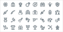 Videogame Elements Line Icons. Linear Set. Quality Vector Line Set Such As Lantern, Diamond, Cup, Catapult, Dragon, Flask, Gate, Medicine, Sword.