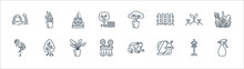 Gardening Line Icons. Linear Set. Quality Vector Line Set Such As Spray, Snail, Flower Pot, Flamingo, Sprouts, Fountain, Bonsai, Snake Plant.
