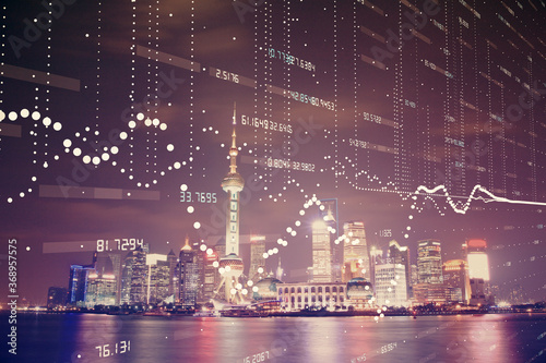 Obraz Data theme hologram drawing on city view with skyscrapers background multi exposure. Ai concept. - fototapety do salonu