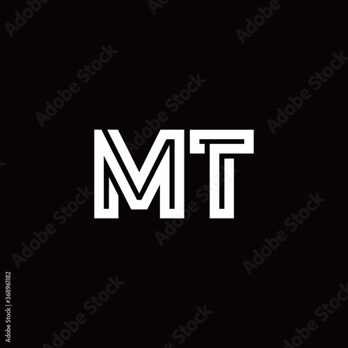 Fotografie, Obraz MT monogram logo with abstract line