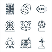 England Line Icons. Linear Set. Quality Vector Line Set Such As Sword, Double Decker Bus, Queen, Pound, Fox, Placeholder, Rugby, Cookies.