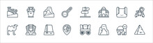 Desert Line Icons. Linear Set. Quality Vector Line Set Such As Pyramid, Cave, Location, Camel, Rug, Mountain, Amphora.
