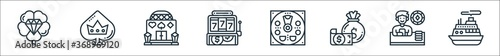 Fotomural casino line icons