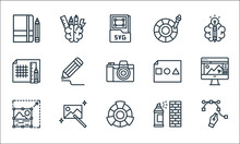 Graphic Design Line Icons. Linear Set. Quality Vector Line Set Such As , Color Wheel, Photo Editing, Graffiti, Magic Wand, Grid Lines, Basic Shapes, Color Picker, Brainstorm.