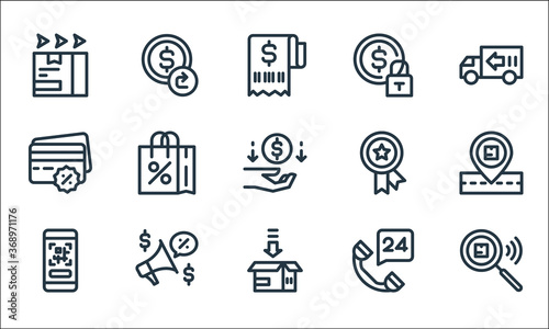 Fototapeta ecommerce line icons. linear set. quality vector line set such as package checking, packing, qr code, hours, promotion, cit card payment, premium quality, security, refund. obraz na płótnie
