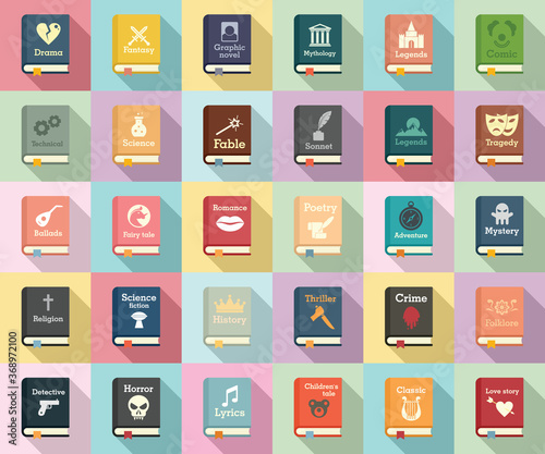 Fototapeta Literary genres icons set. Flat set of literary genres vector icons for web design obraz