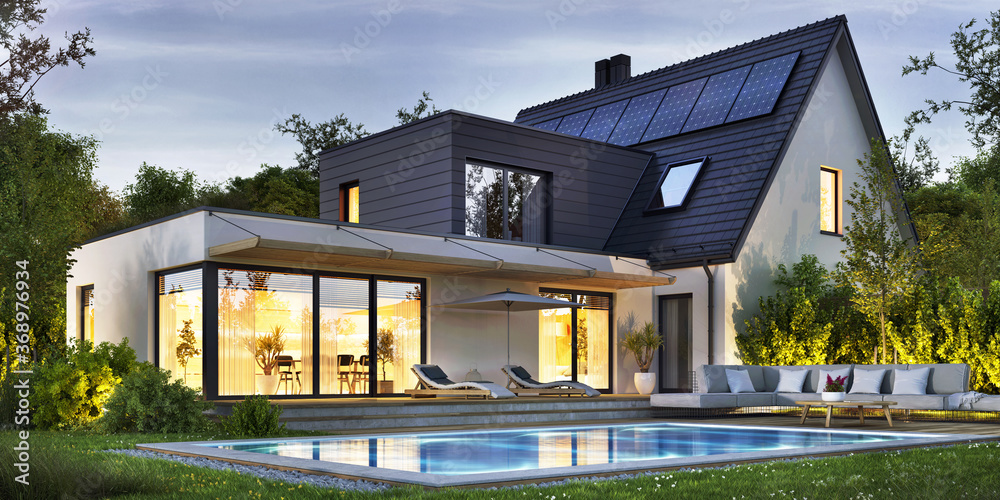 Fototapeta Night view of a beautiful modern house with solar panels and a swimming pool